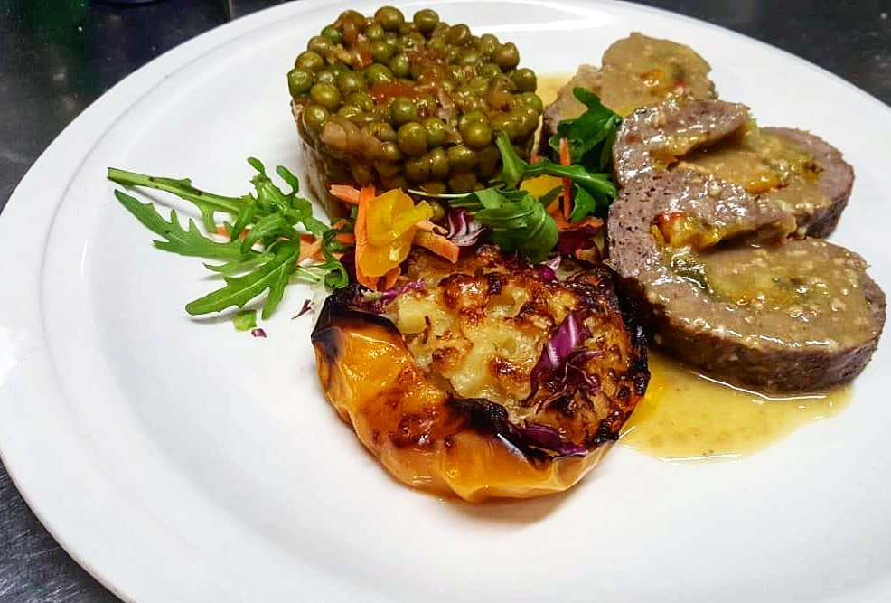 Meatloaf stuffed with vegetables and potatoes from fresh daily offer Bistro Aligrhieri