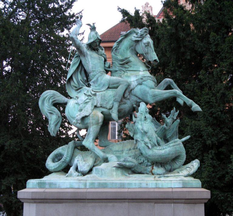 Saint George killing the dragon twice