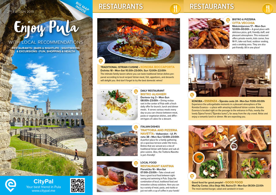 Enjoy Pula with local recommendations restaurants • bars & nightlife • sightseeing & excursions • fun, shopping & health